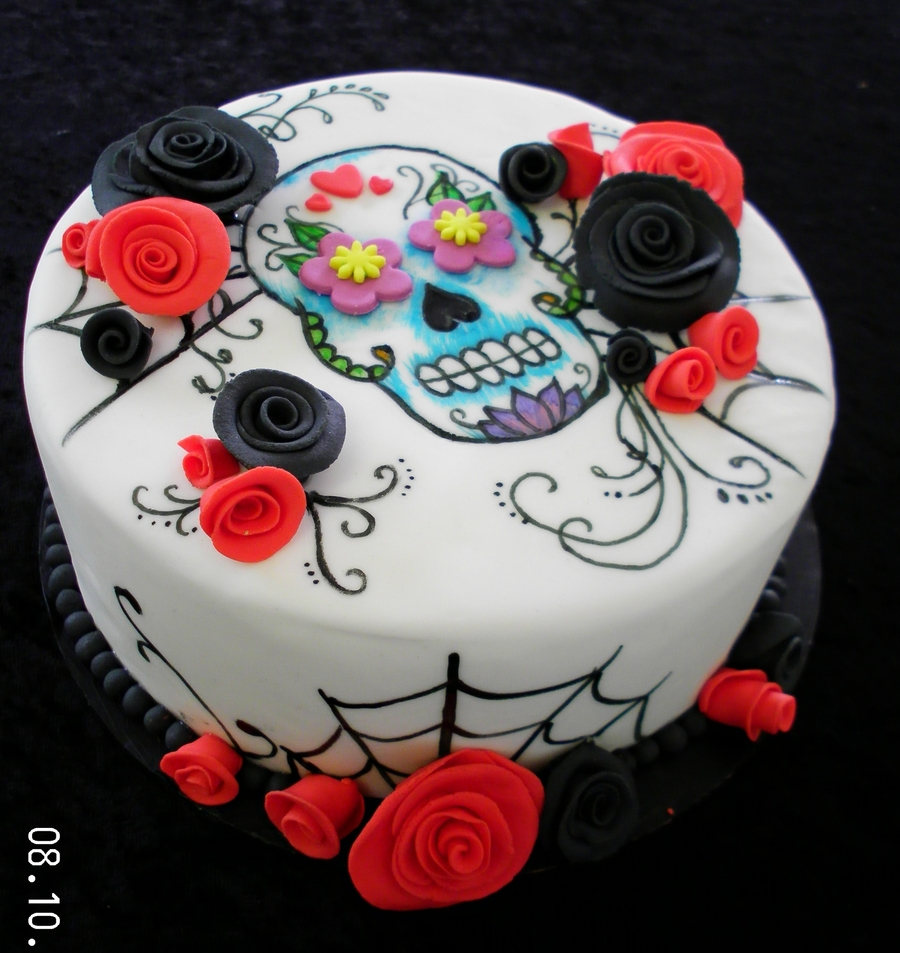 Painted Sugar Skull Cake  on Cake Central