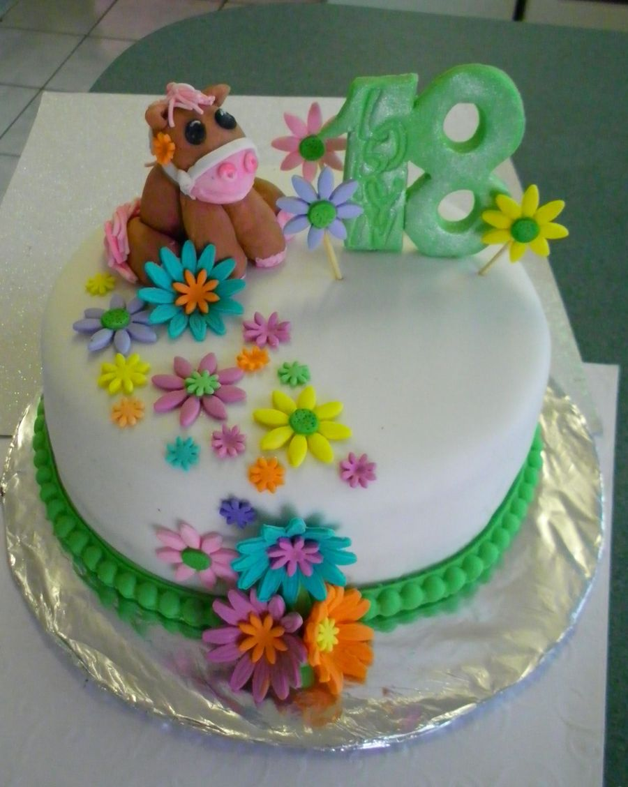 Birthday Cake For A Girlyhorse Mad 18 Year Old Cakecentral