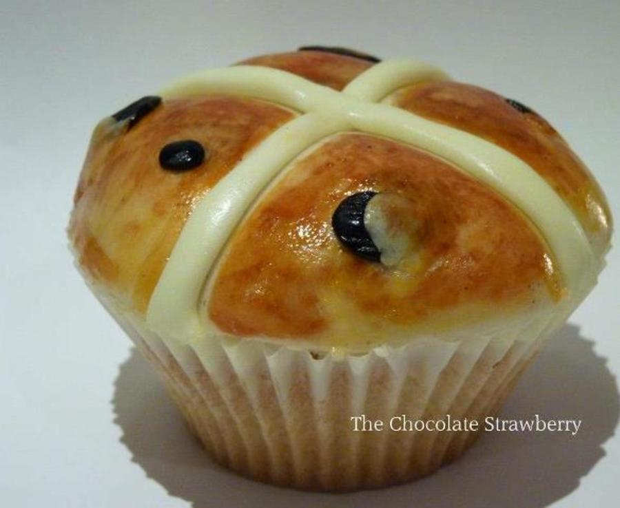 Hand-Painted Hot Cross Bun Cupcake  on Cake Central