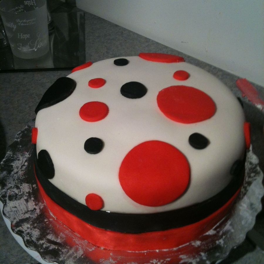 Red And Black Polk A Dots Inside Checkered Red And Black on Cake Central