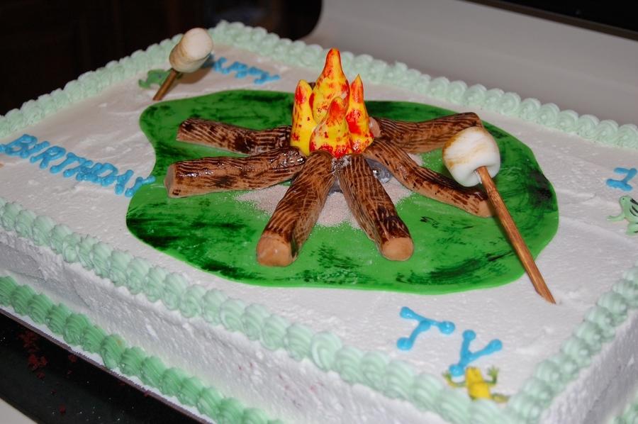 Amazing Campfire Birthday Cake Cakecentral Com Funny Birthday Cards Online Alyptdamsfinfo