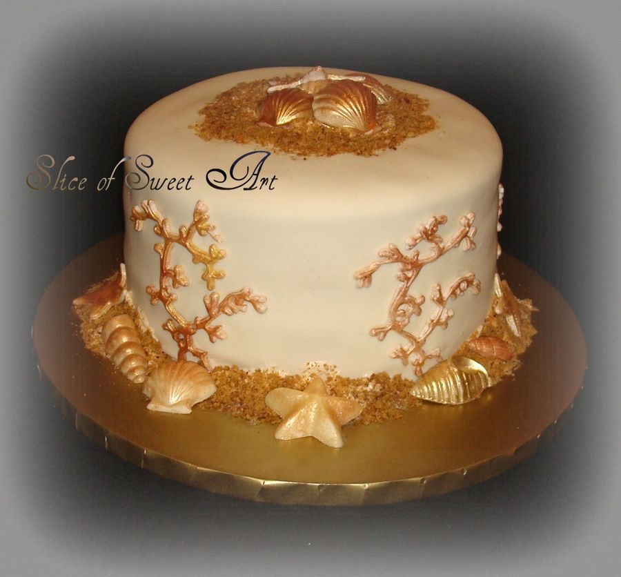 Golden Beach Anniversary on Cake Central