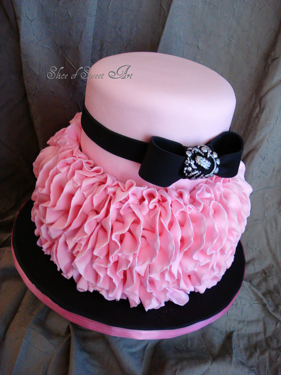 Cake With Fondant Ribbon : Pink Ruffle Birthday - CakeCentral.com