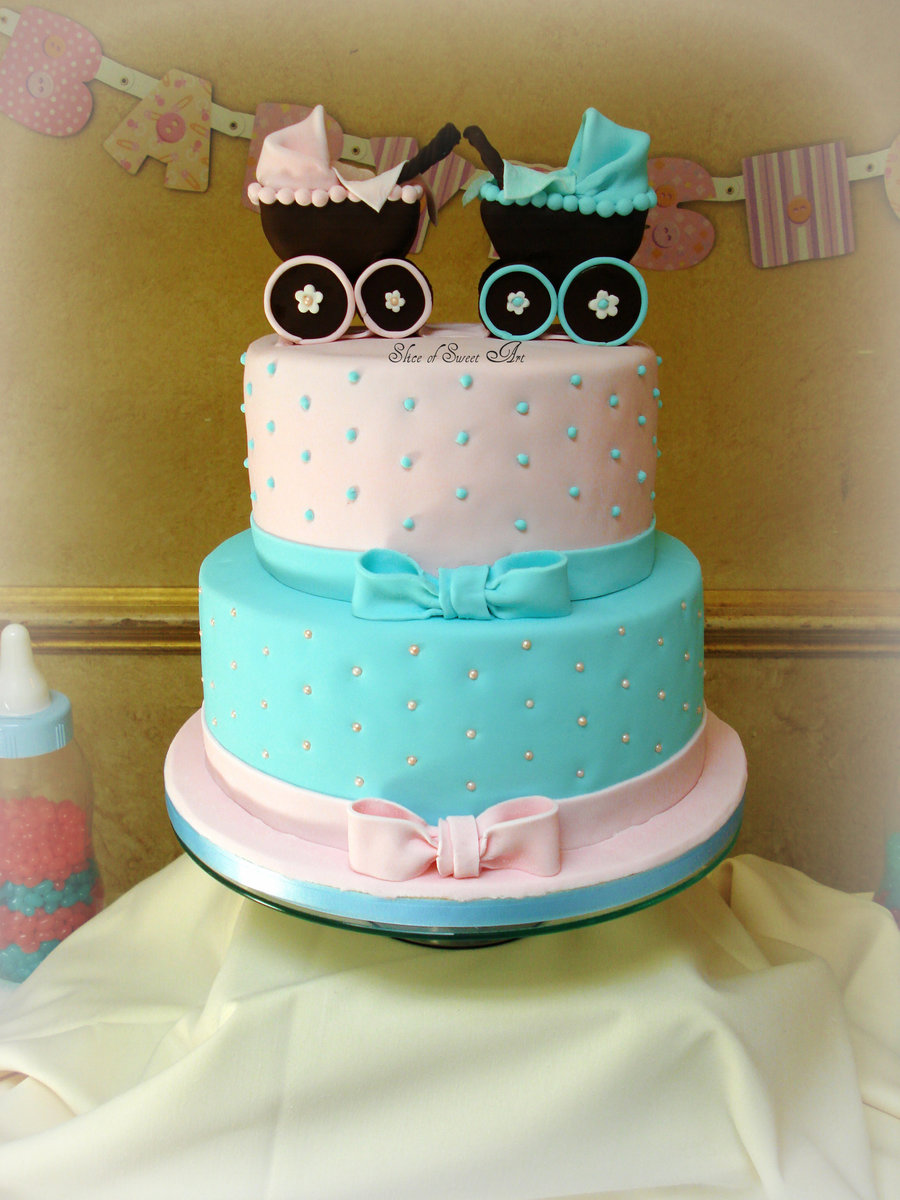 Pink blue baby shower for Baby shower decoration twins