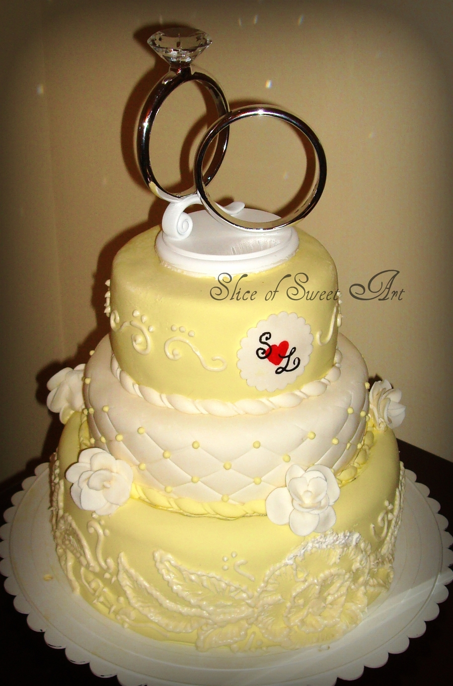 White And Yellow Wedding on Cake Central