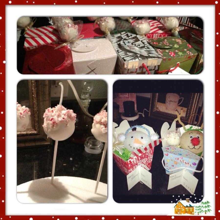 Peppermint Cake Pops With Crushed Candy Cane Garnish These Were Gifts For My Daughters Pre K Class A Cake Pop And A Rudolph Or Frosty O on Cake Central