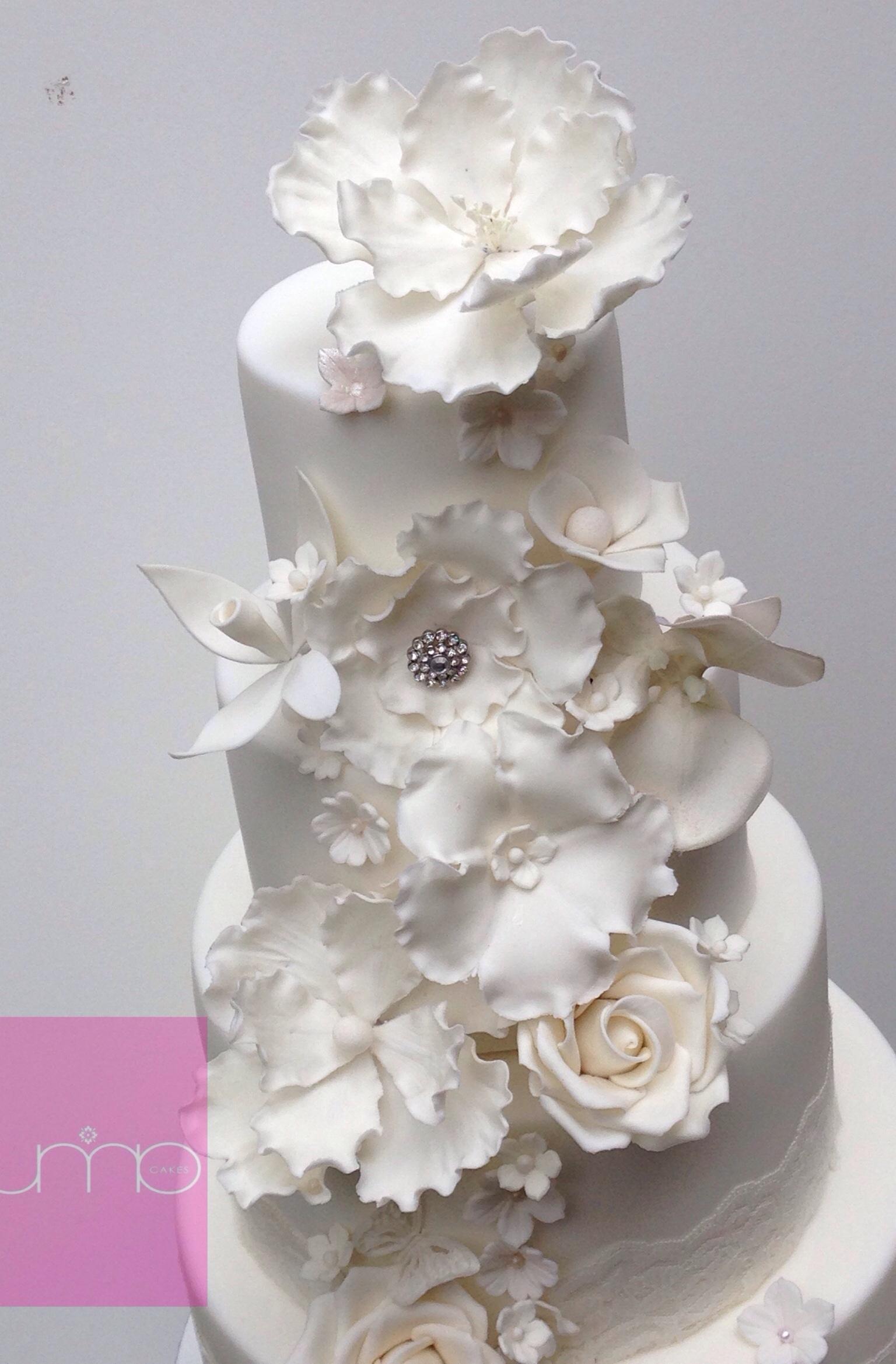 Elegant White Wedding Cake Sugar Flowers Magnolia Orchid