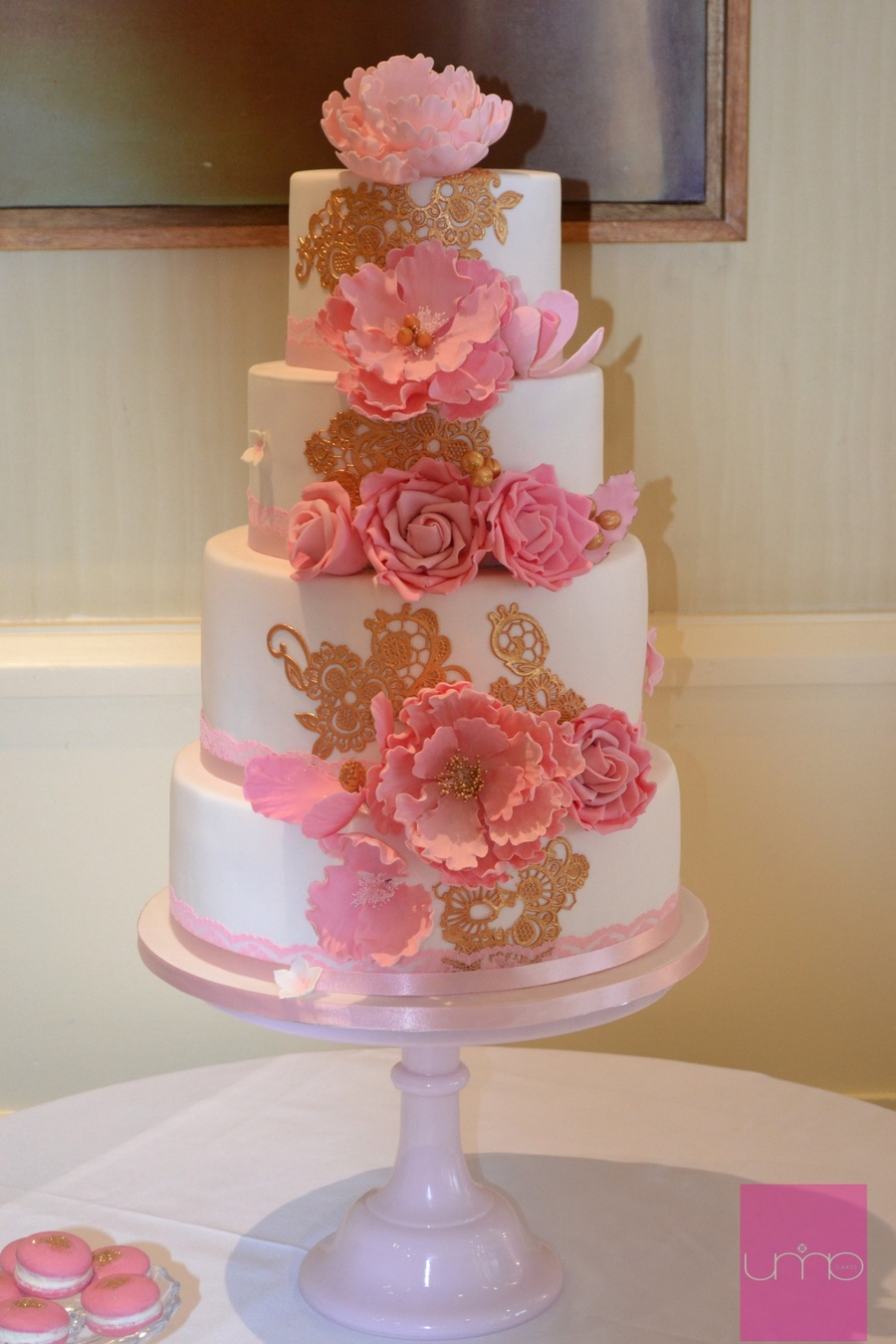 4 Tier White Wedding Cake With Pink Blush And Pastel Pink