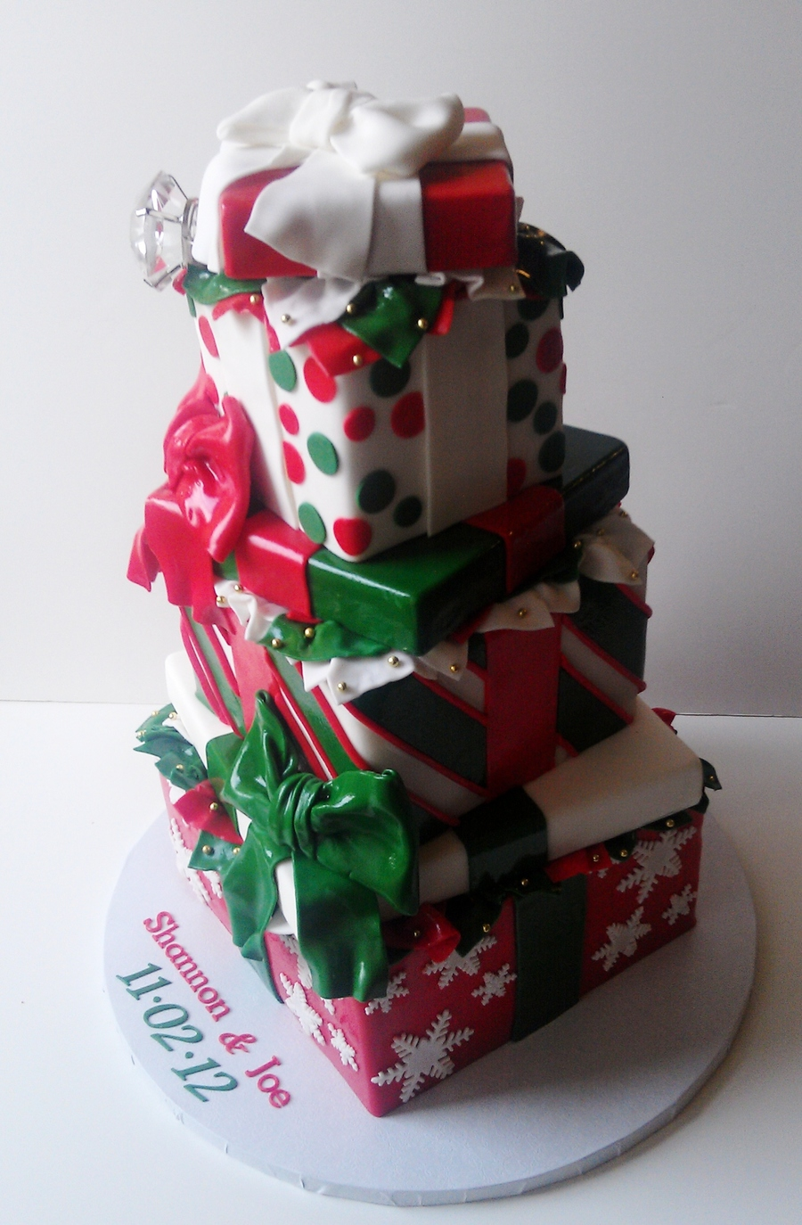 Christmas Inspired Engagement Cake on Cake Central