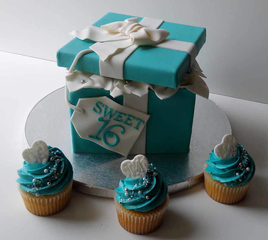 Tiffany Gift Box And Cupcakes on Cake Central
