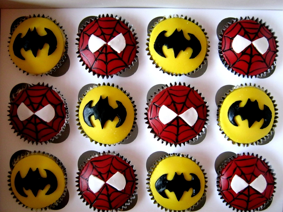 Spiderman & Batman Cupcakes on Cake Central