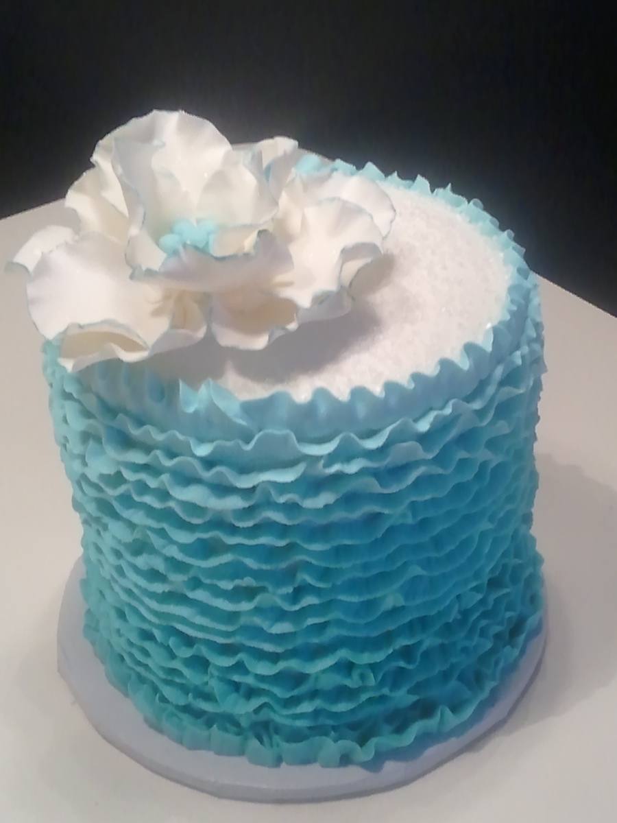Blue Buttercream Ruffled Birthday Cake on Cake Central