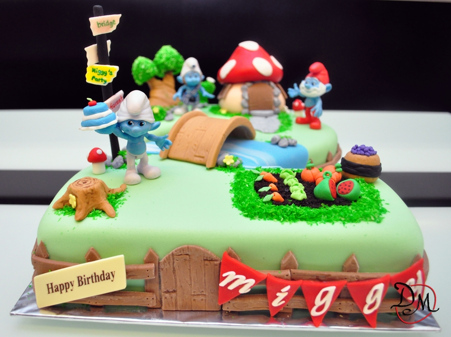 Smurf Village Birthday Cake
