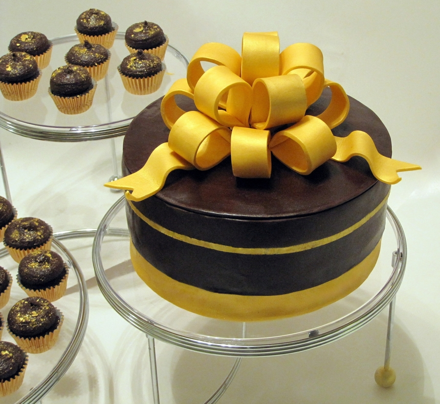 Chocolate Gold Hatbox Cake, Mini Golden Cupcakes on Cake Central
