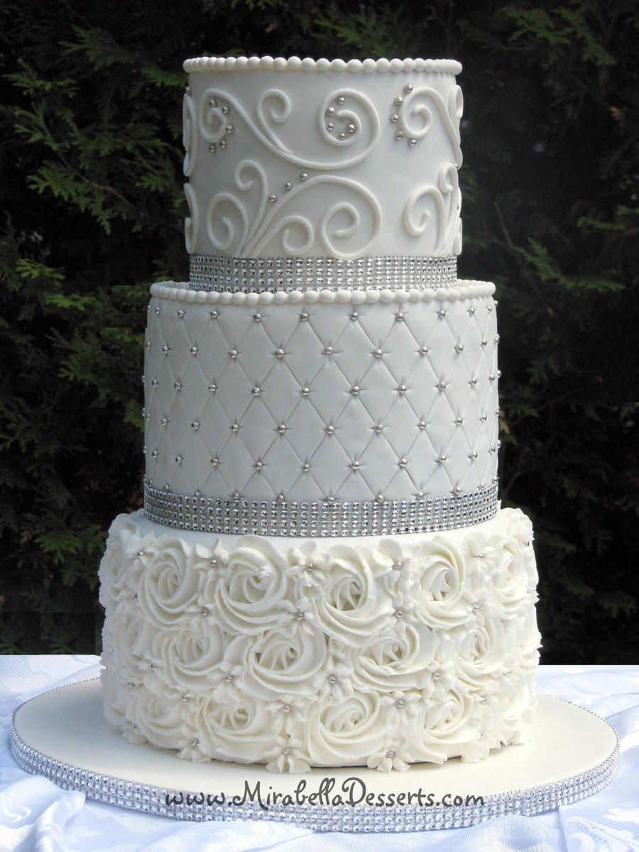 Tier All White Buttercream Wedding Cake Textured