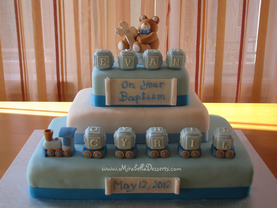 3 Tier Baptism Cake Decorated With Fondant Blocks Train And Teddy Bear on Cake Central