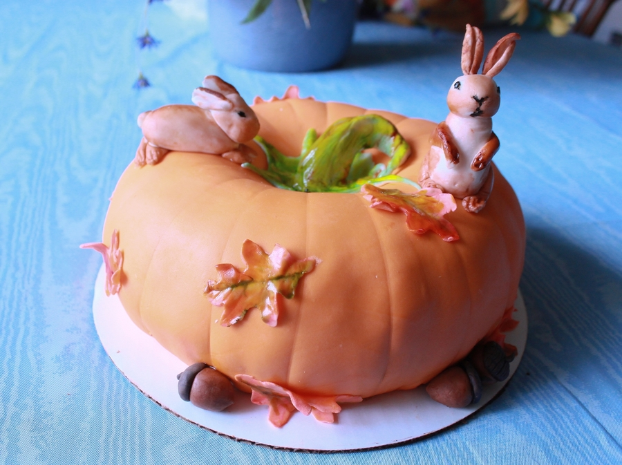 Pumpkin And Bunnies on Cake Central