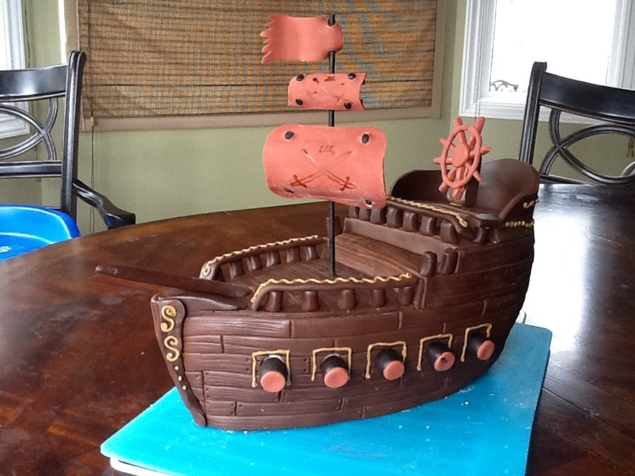 Pirate Ship Birthday Cake CakeCentralcom