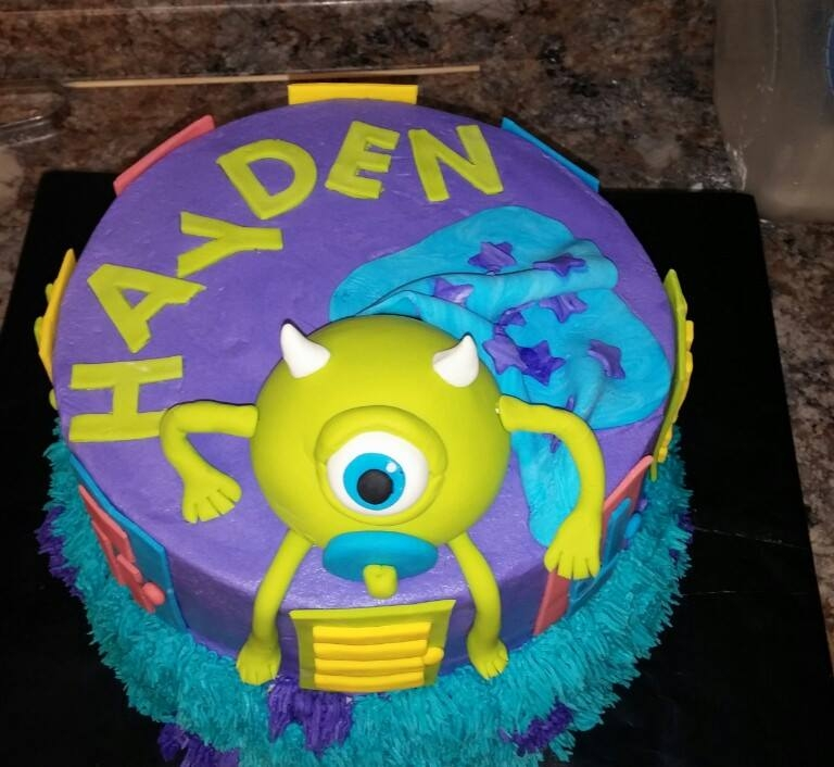 monster 39 s inc themed baby shower cake