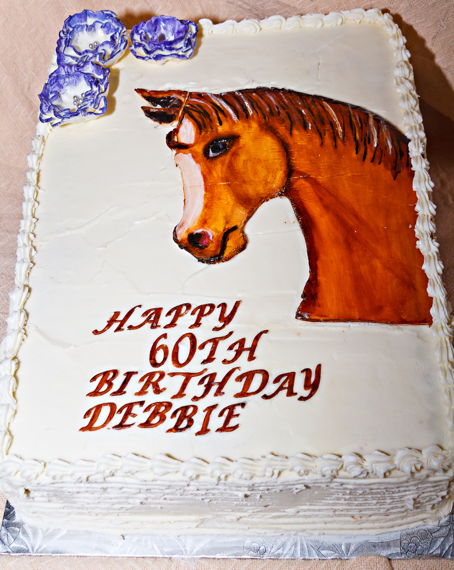 Hand Painted Horse Head Birthday Cake CakeCentralcom