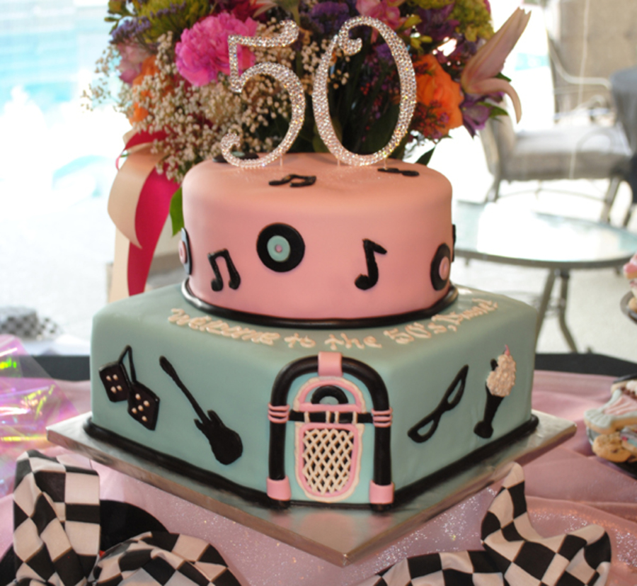 50S Sock Hop Theme 50Th Birthday Cake on Cake Central