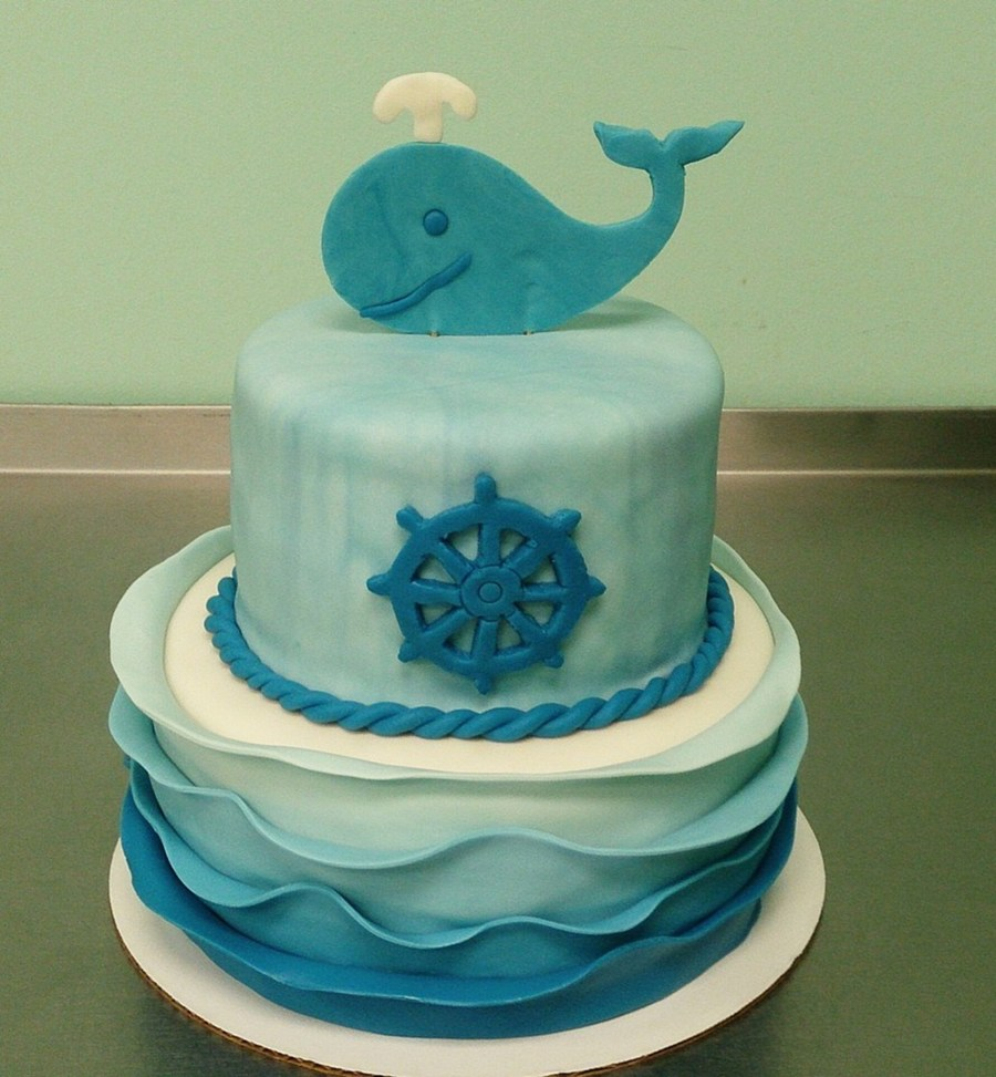 Nautical Baby Shower Cake With Ombre Waves On Cake Central