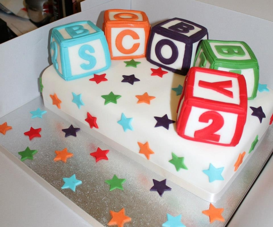Alphabet block christening cake for Alphabet blocks cake decoration