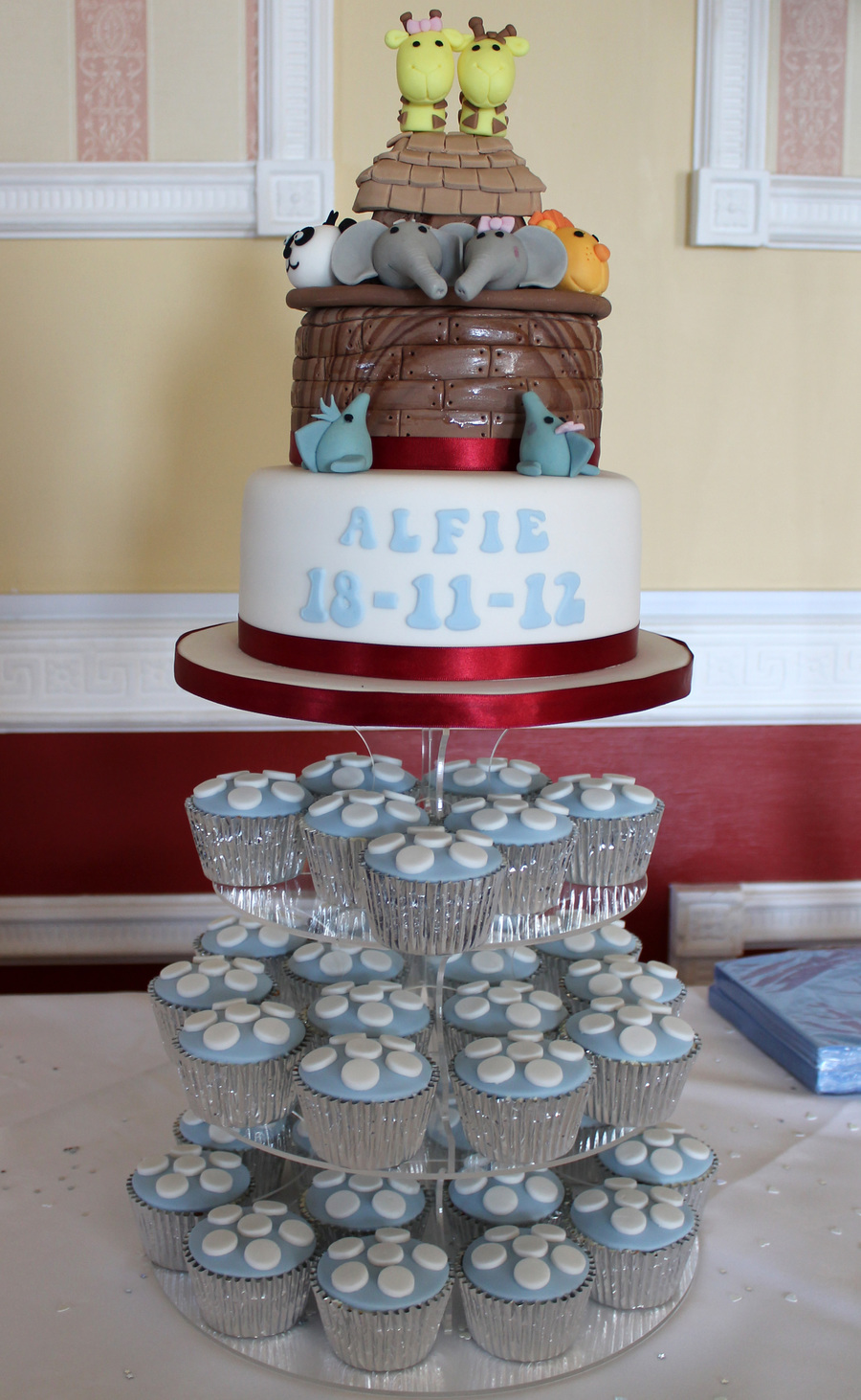 Noah S Ark Christening Cake And Cupcakes Cakecentral Com
