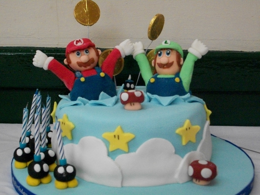 Made This Cake For My Son And Nephews Joint Party Who Are Mario Mad All Is Edible Expect Wrapper On Coins on Cake Central