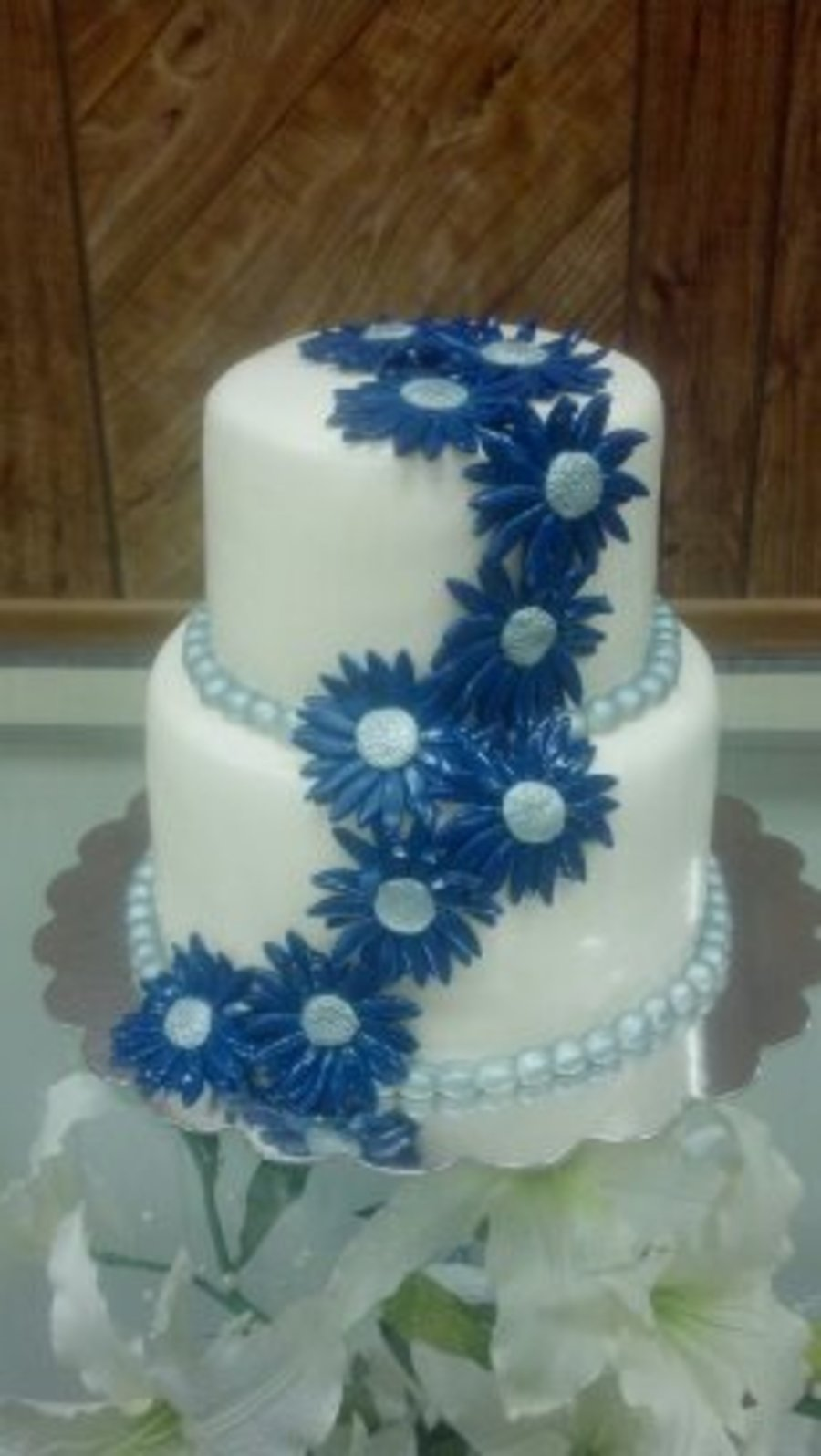 Blue Amp Silver Daisy Theme Wedding Cake By Pamcakes on Cake Central