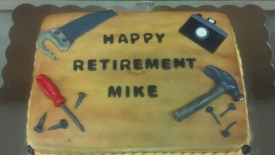 Carpenter And Photographer Retirement Cake By Pamcakes on Cake Central