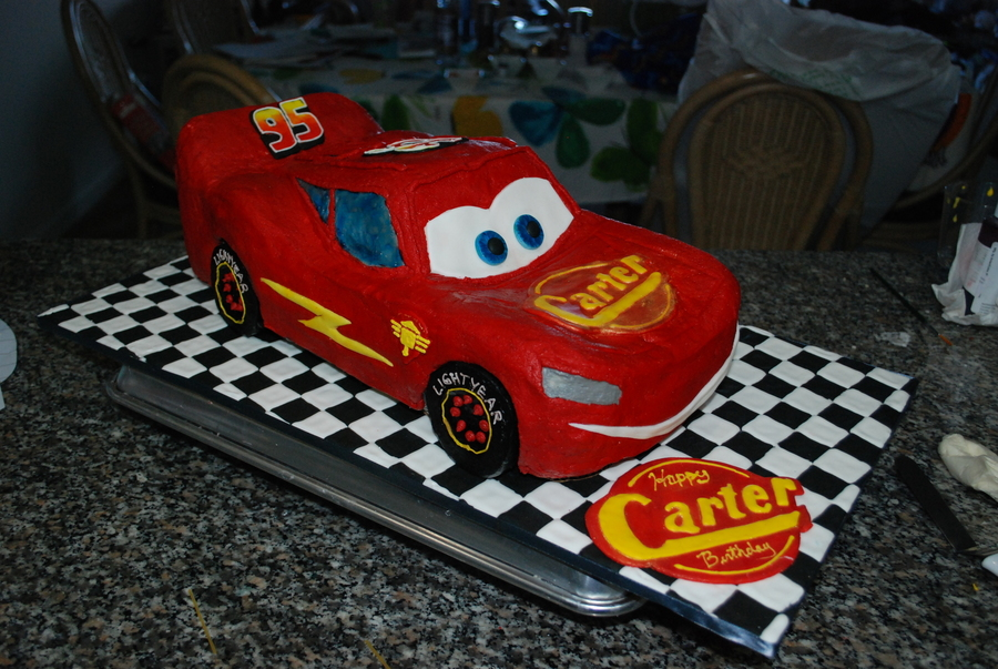 Cars Lightning Mcqueen Birthday Cake Vanilla Cake With Strawberry Filling And Vanilla Buttercream on Cake Central