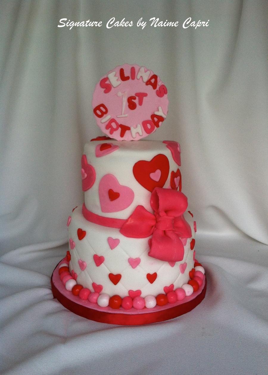 valentine themed first birthday cake on valentine birthday cake photo