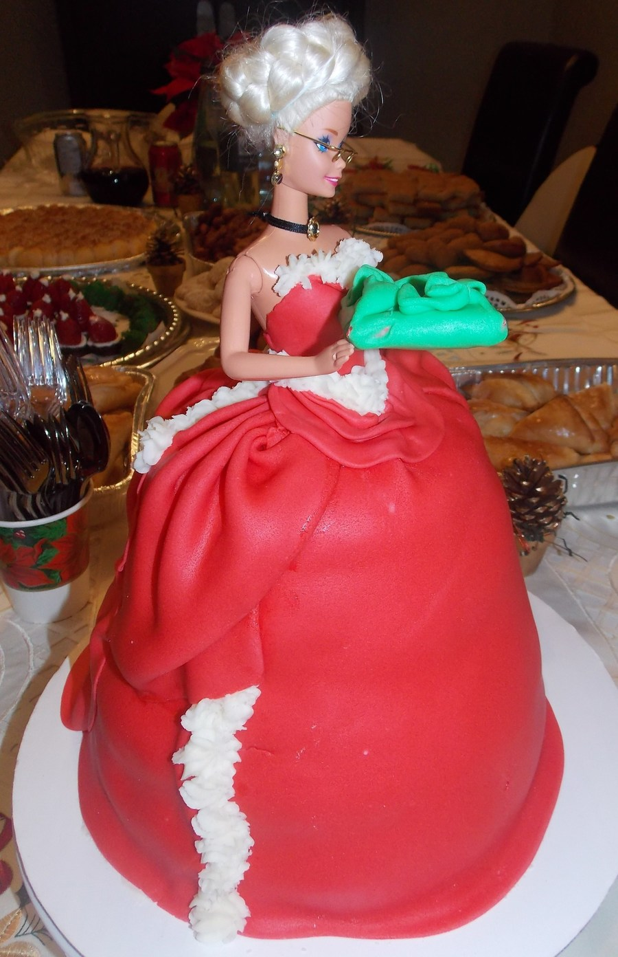 Mrsclaus Barbie  on Cake Central