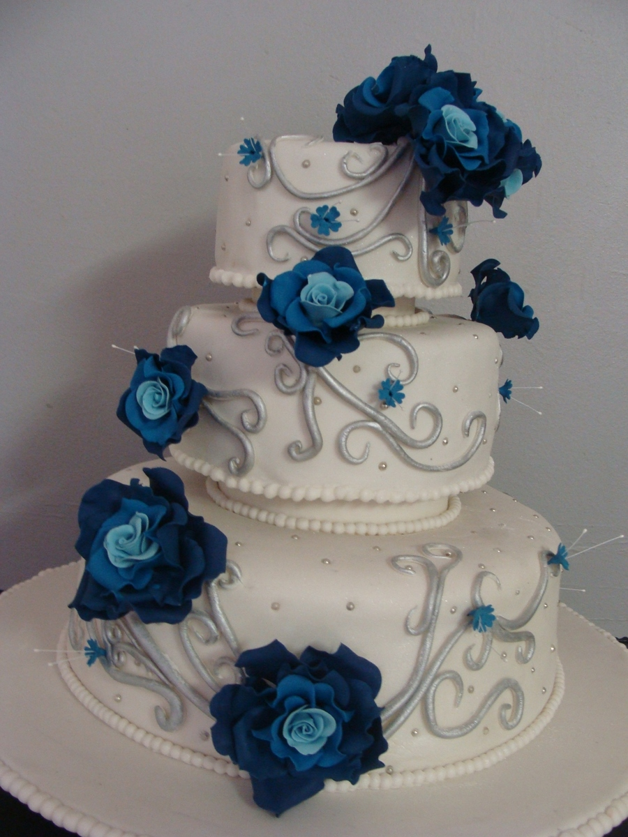 wedding cake blue and silver blue and silver wedding cake cakecentral 22025