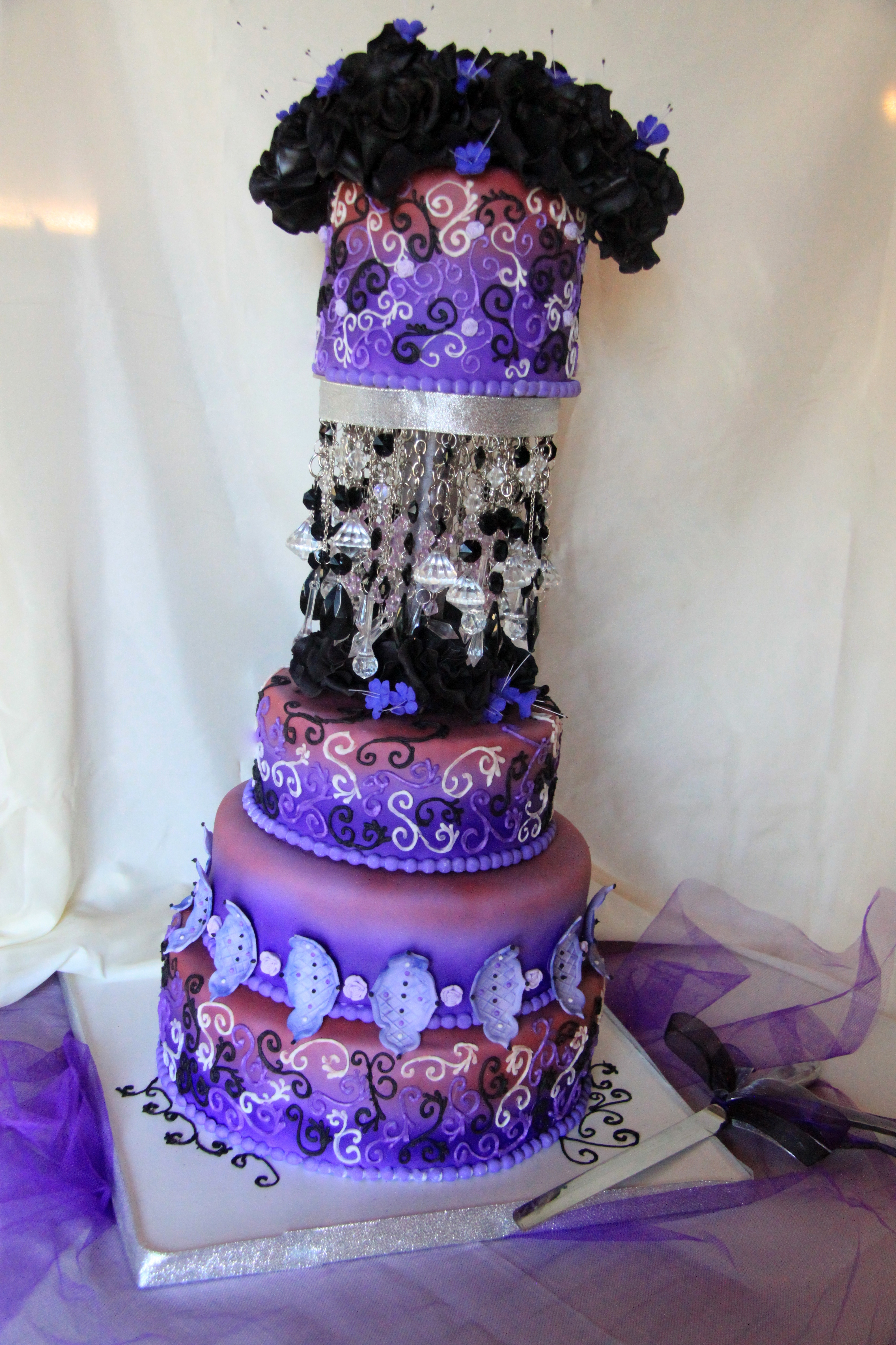black and purple wedding cakes purple and black wedding cake cakecentral 11822