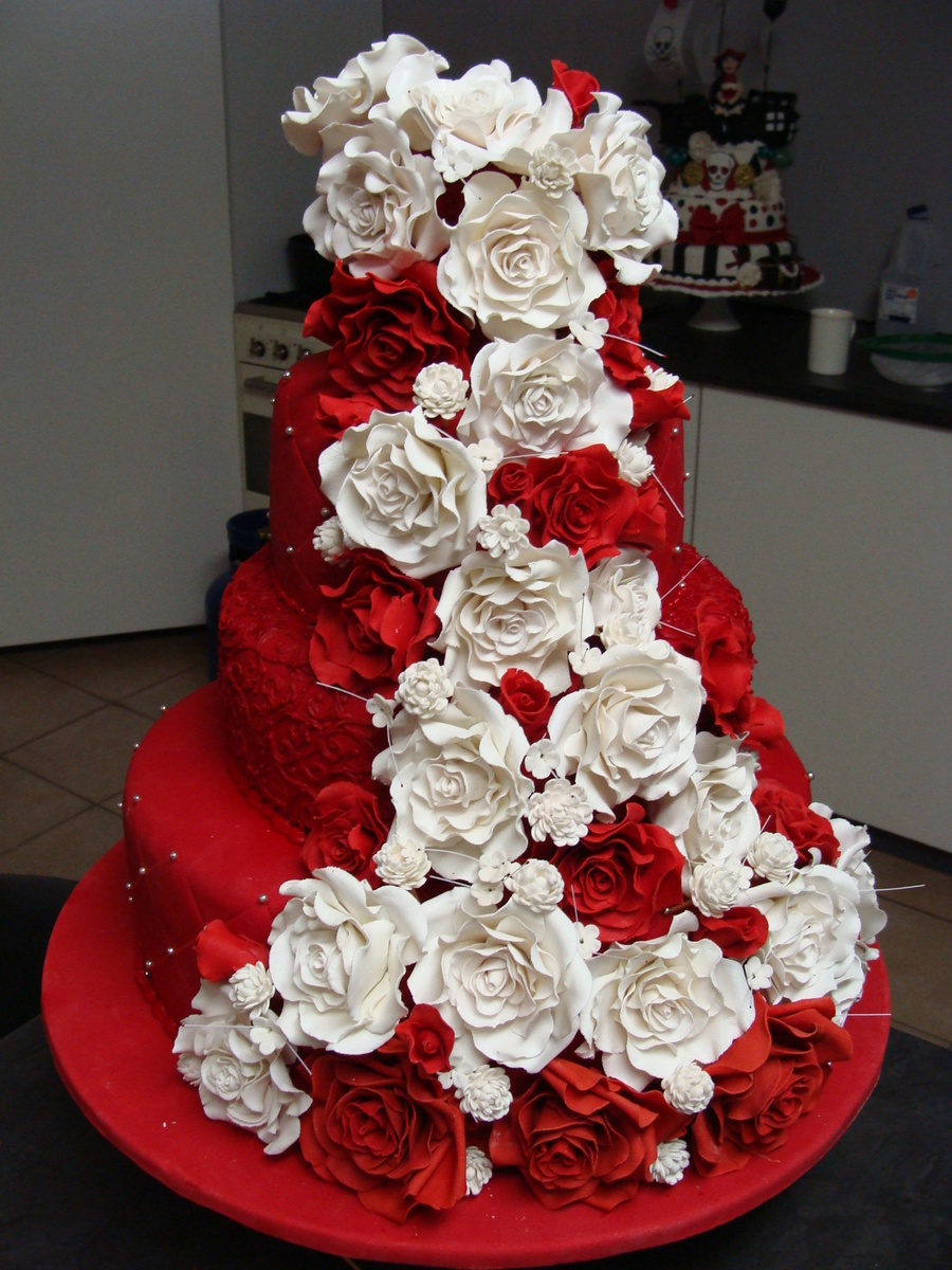 Red And White Rose Wedding Cake on Cake Central