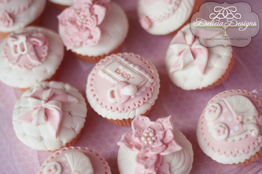 Baby girl cupcakes for Baby shower cupcake decoration