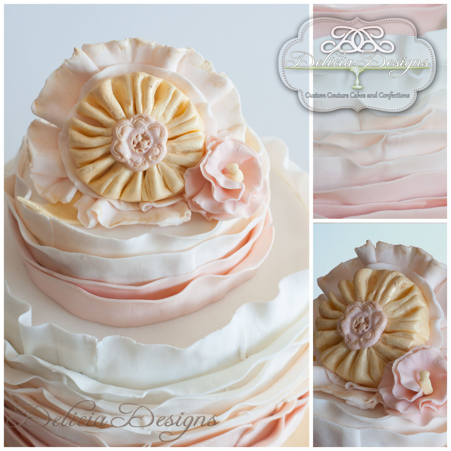 Brooch Ruffles Peach Pink on Cake Central
