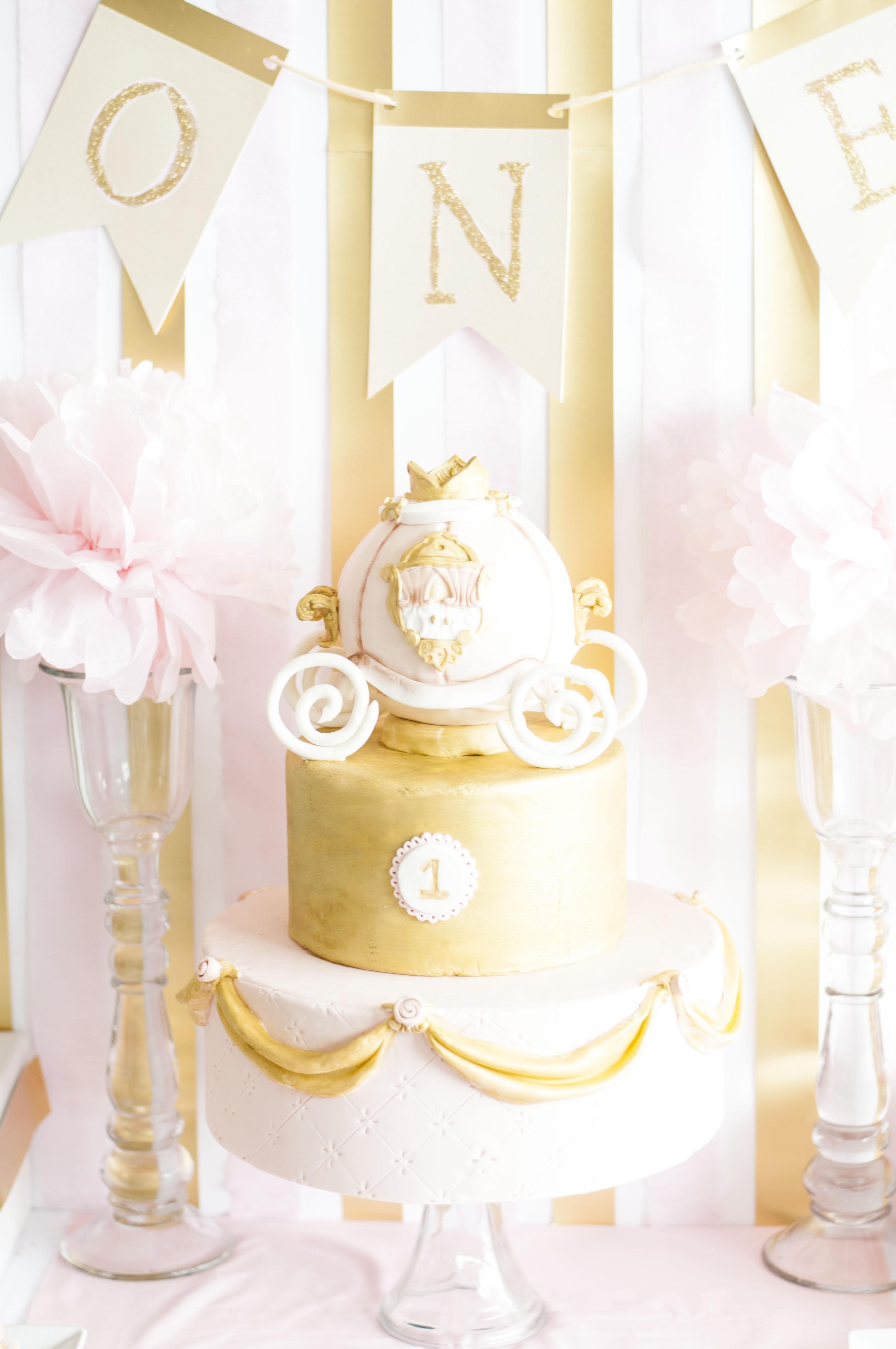 Princess Pink Amp Gold Carriage 1st Birthday Cake