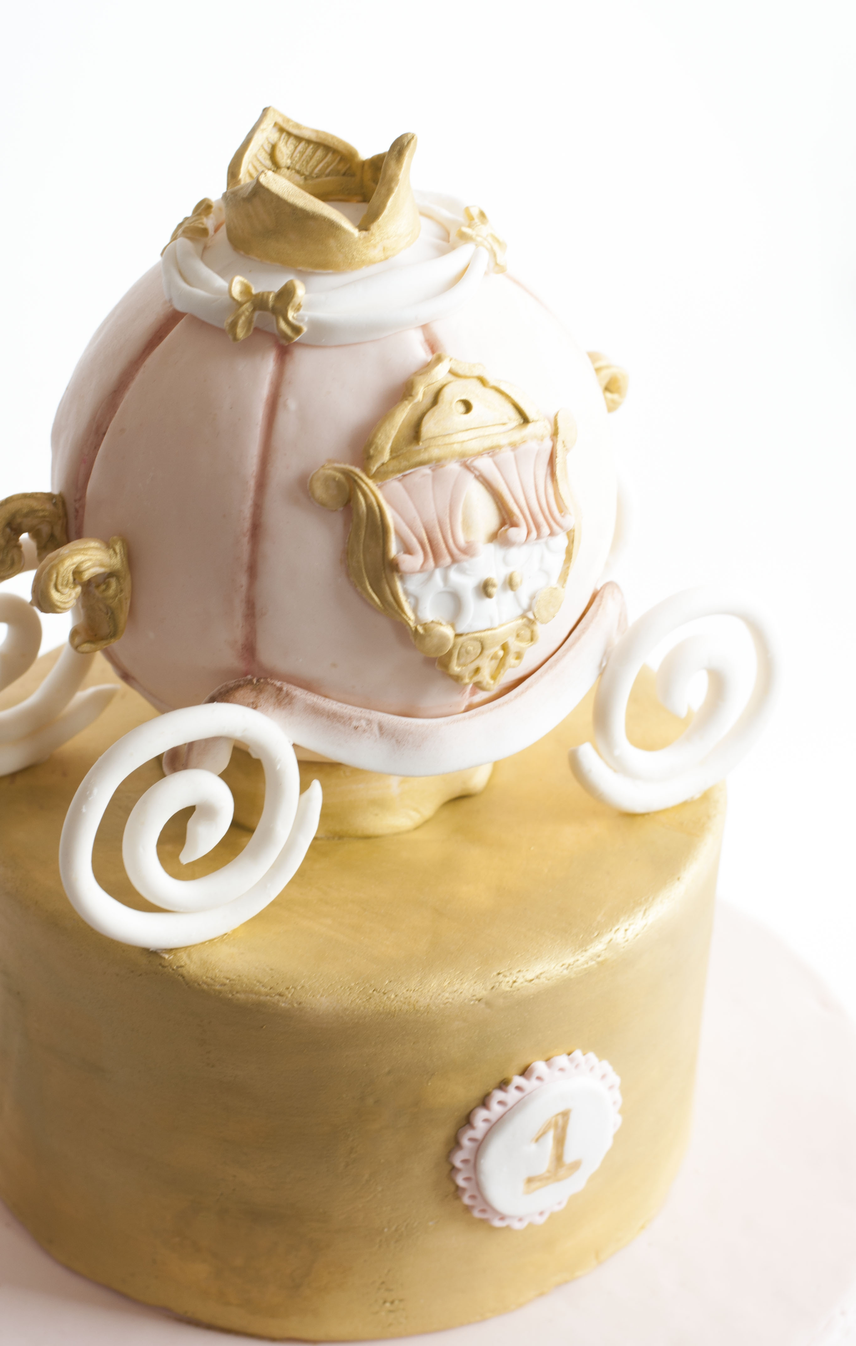 Pink And Gold St Birthday Crown Cake