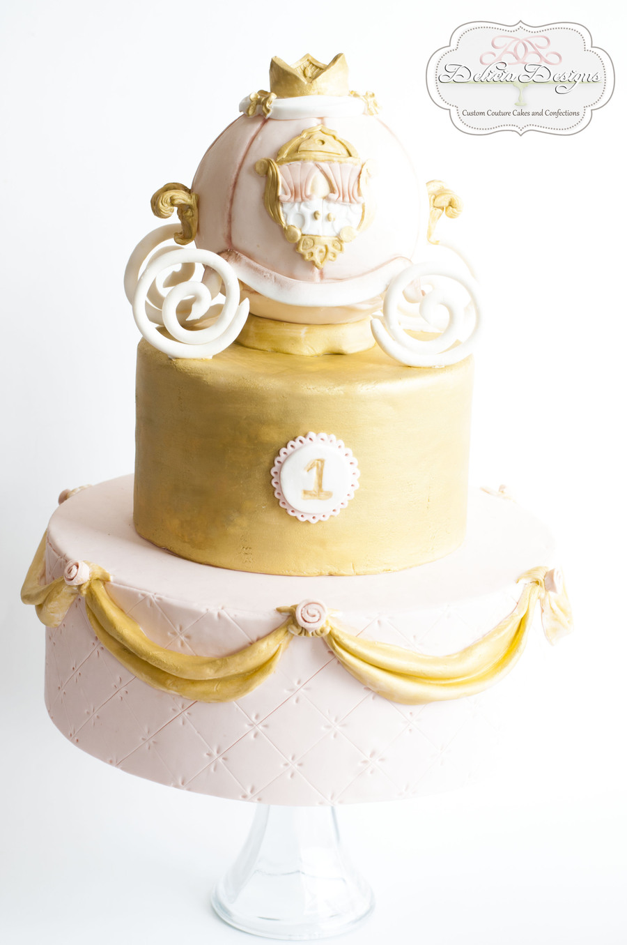 Princess Pink Amp Gold Carriage 1st Birthday Cake