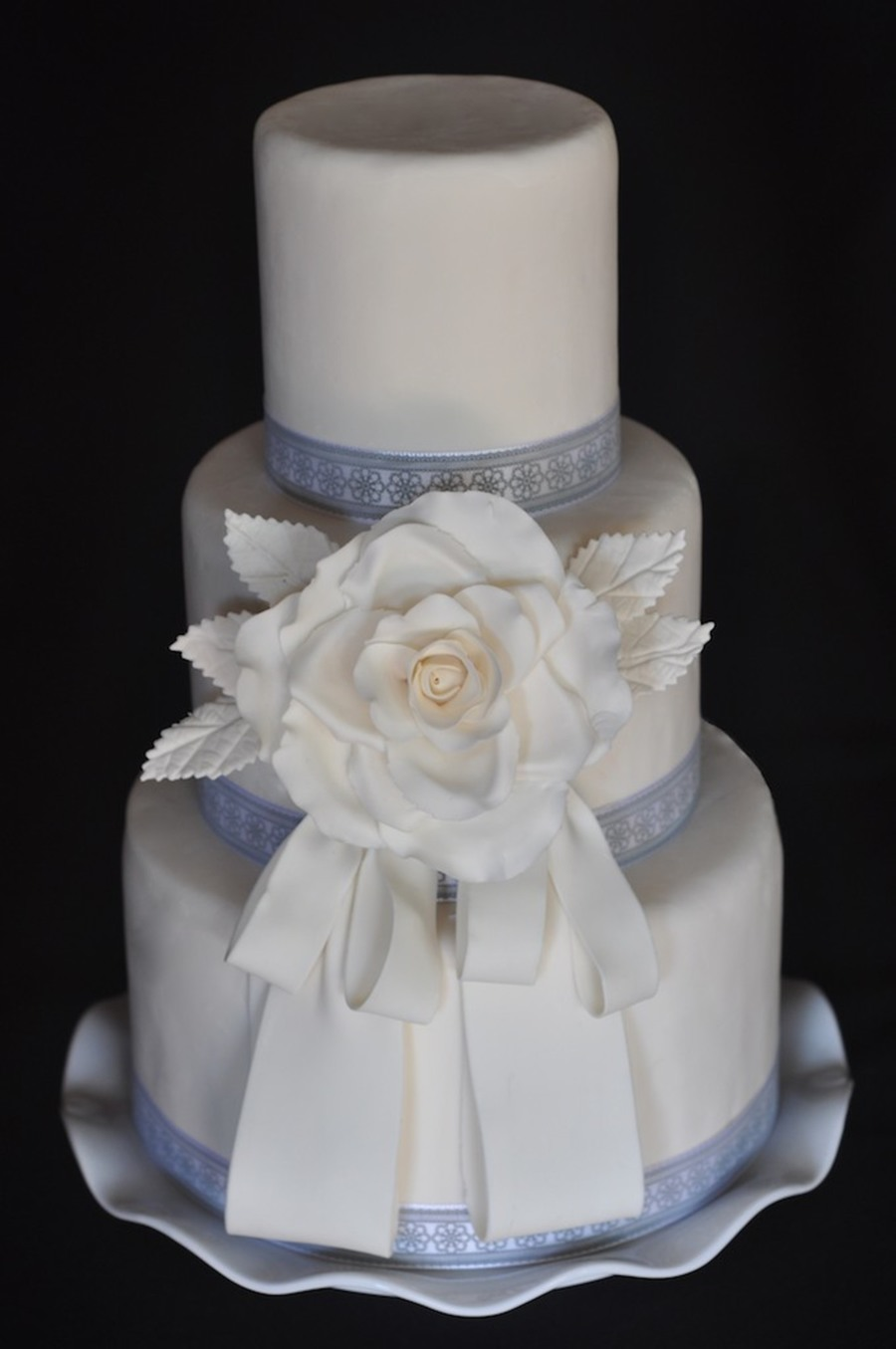Fondant With Gum Paste Rose And Ribbon  on Cake Central