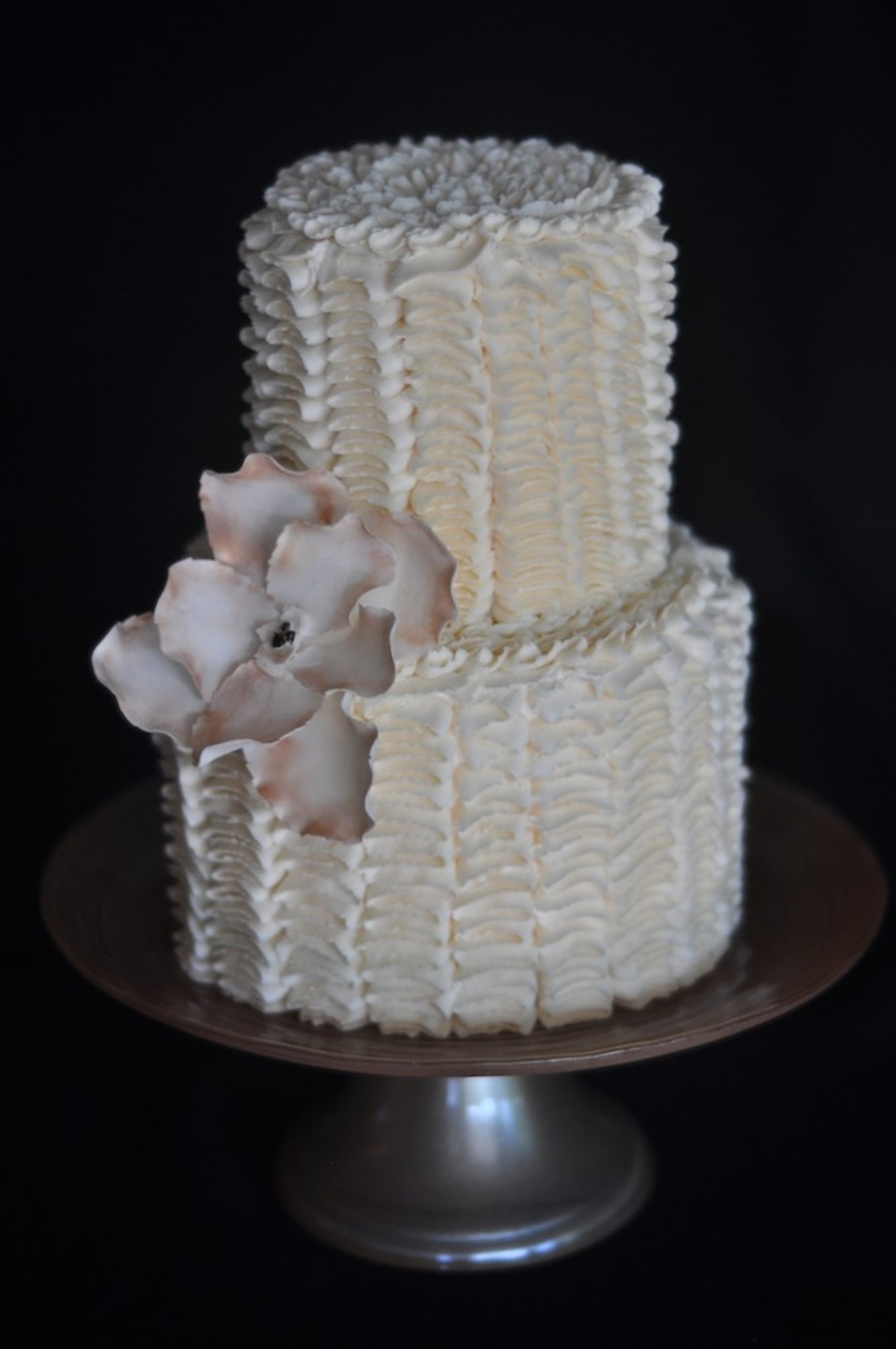 Buttercream Ribbons With Gum Paste Flower on Cake Central