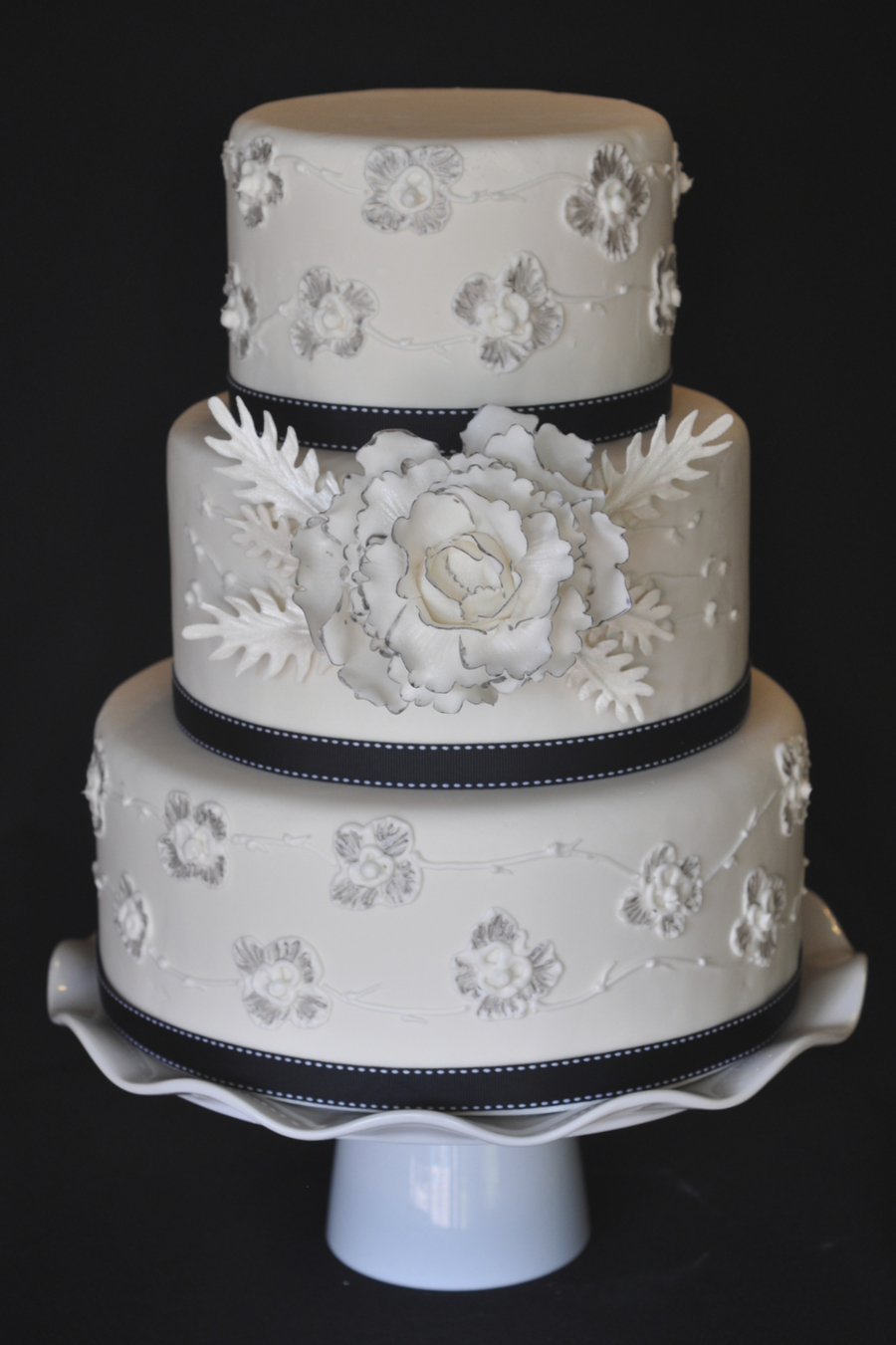 Fondant Cake With Brush Embroidery And Gum Paste Peony Edged In Silver on Cake Central