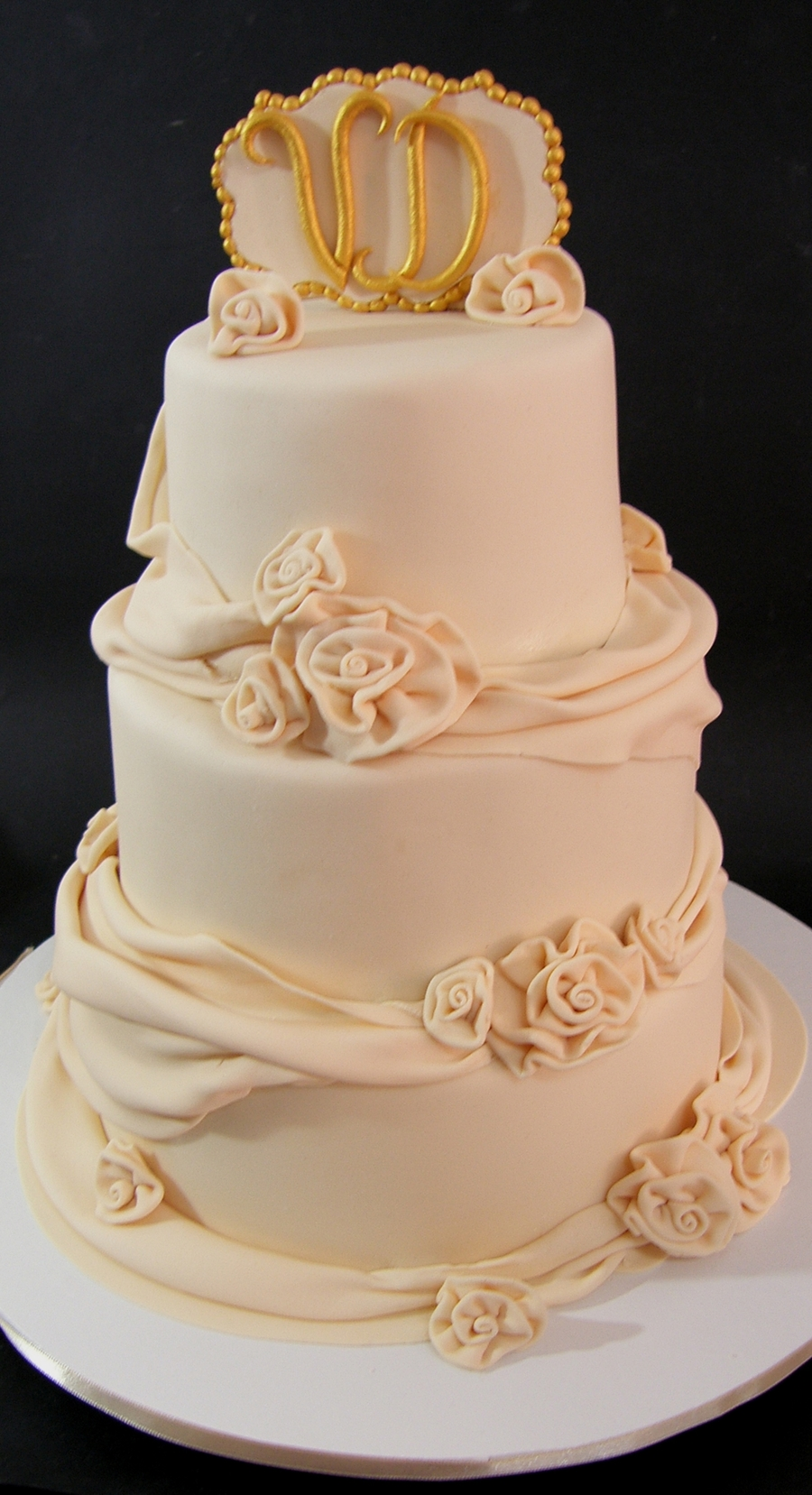 Drapes And Ribbon Roses on Cake Central