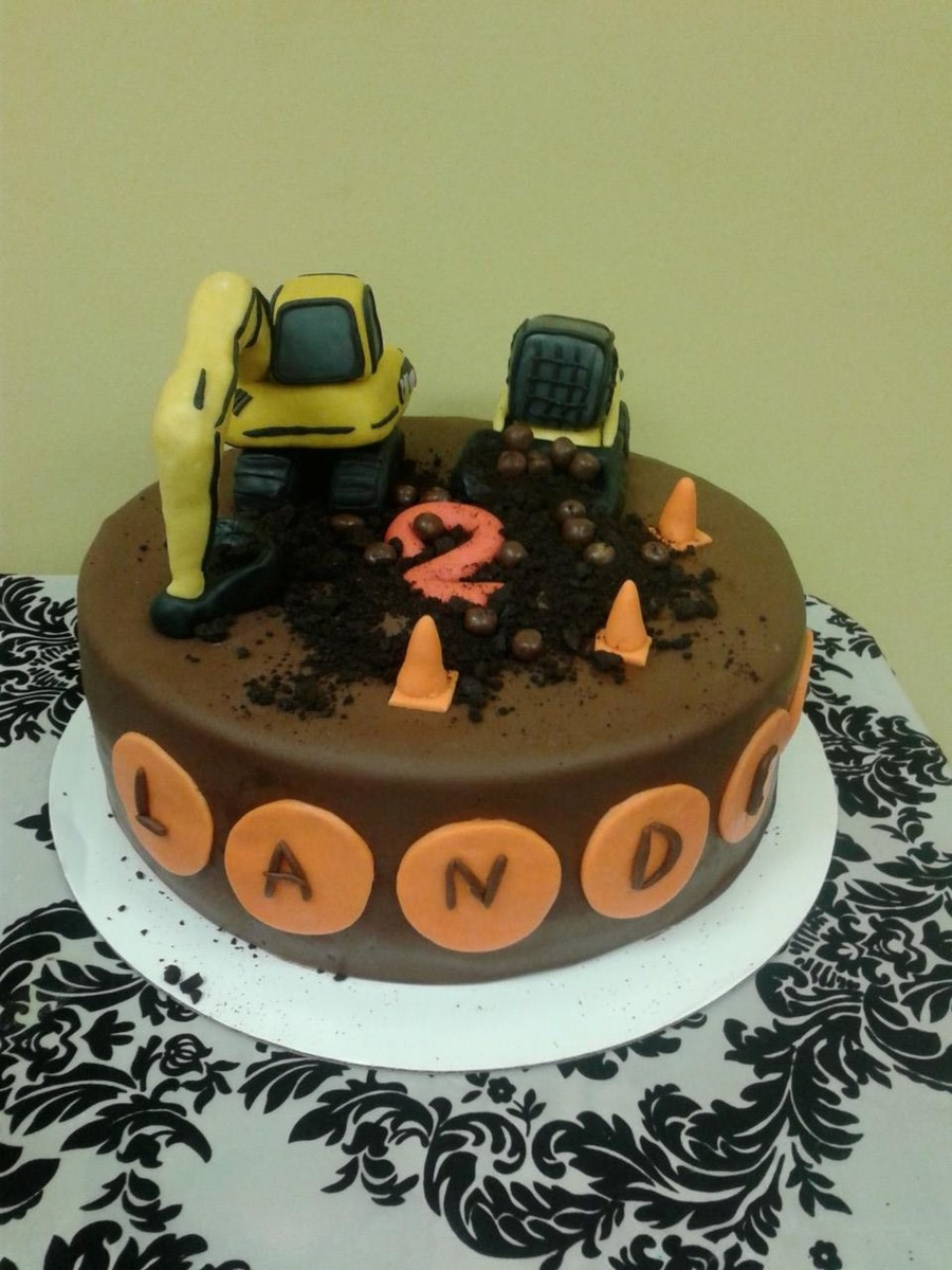 Construction Themed Birthday Cake For Mr Landen Who Just Turned 2 It