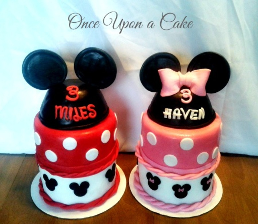 Twin Mickey & Minnie Mouse Cakes - CakeCentral.com