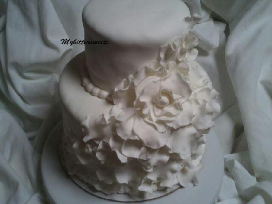 White And Pink Ruffle Cake  on Cake Central