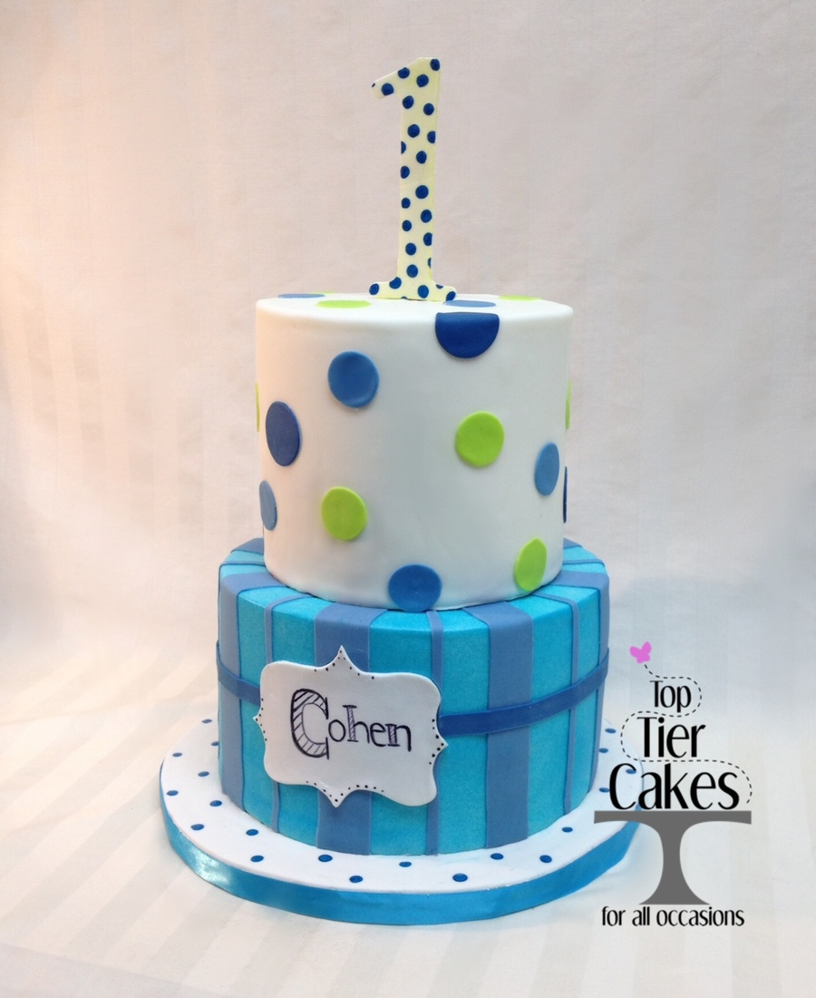 Magnificent One Year Old Party Cake Polka Dots Stripes Blue Green Navy Blue Personalised Birthday Cards Vishlily Jamesorg